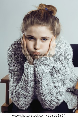 beauty young real woman in sweater at winter warmed up, cheerful smiling closeup