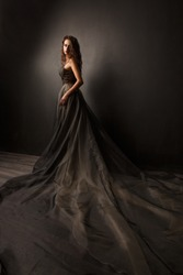 Beauty young woman in long black dress with dark long hair on the dark background
