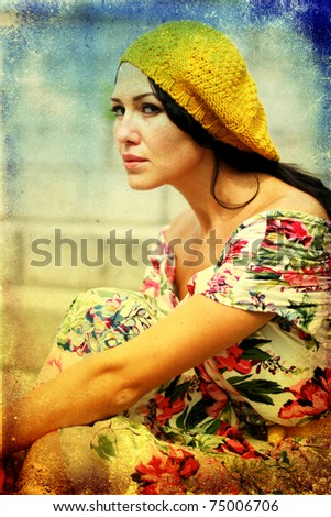 beauty young woman in pretty dress, vintage texture