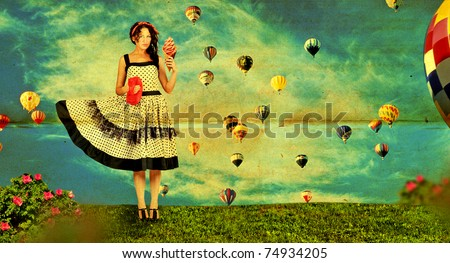 beauty young woman on nature, green grass, blue sky,retro paper texture