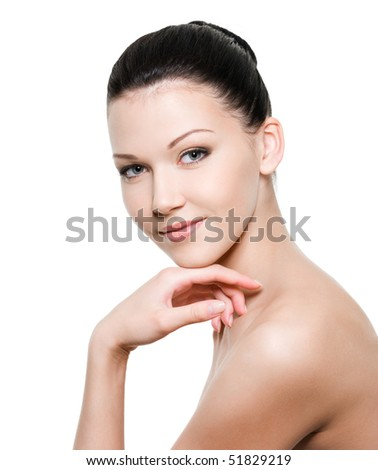 Beauty young woman with healthy skin - isolated on white - stock photo