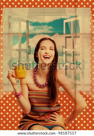 beauty young woman with yellow cup, art collage