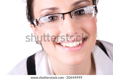 Beautyful businesswoman portrait. Isolated on white.