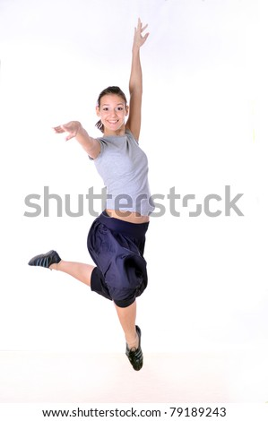 beautyful caucasian  young girl in dance, jumping beautyful girl,isolated over white,isolated,