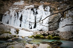 Beautyful frozen Waterfall on Rugova Mountain Kosovo