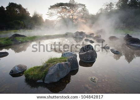 beautyful morning hotspring at Jae Sawn National Park , Thailand