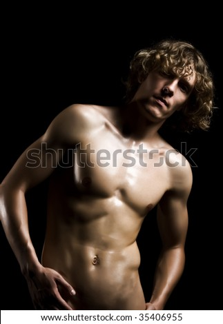 stock photo beautyful nude man on a black background 35406955 Nude black male Drawing   Nude black male Fine Art Print; Men