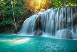 Beautyful waterfall nature season spring in forest thailand. Travel nature outdoor concept