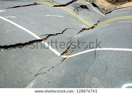 Because of the violation of technology in the construction of roads, water washed away roads and formed a failure