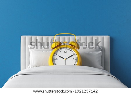 Bed alarm clock yellow bedroom time snooze function soft night morning day alert sleep mode sound. Start the day but wake up late of tiredness to fresh sleep until the appointment. 3D Illustration.