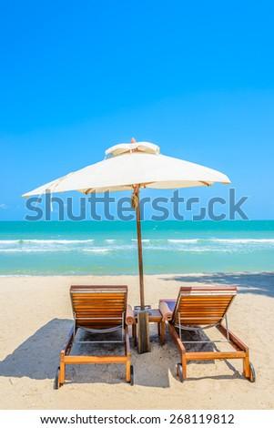 Bed beach on tropical beach #268119812
