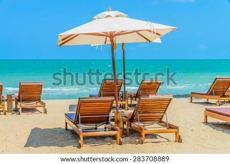 Bed beach on tropical beach #283708889