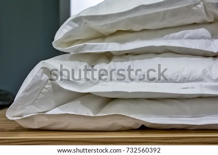 Bed Comforter Sleep Closeup Object Household Wrinkled Texture Folded White #732560392