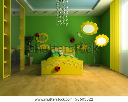 Bed in a children's room 3d image