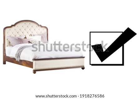 Bed Isolated on White Background. King-Size Wooden Bed with High Tufted Headboard and Wooden Beds Frames. Side View of King Tufted Bed with Linen. Bedroom Furniture. King Size Upholstered Bed