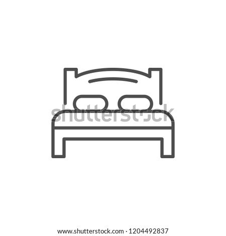 Bed line icon isolated on white