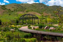 Bed of flowers in the gardens inside Red Butte garden in the heart of Salt Lake City, UT