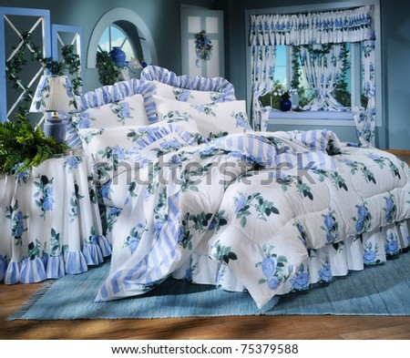 Bed room set with bedding and window light (all sets built in studio)