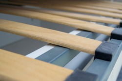bed slats close up. Interior structure of furniture