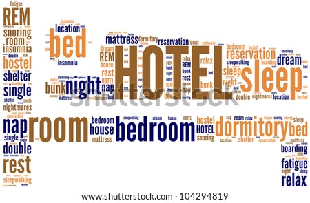 bed, symbol of hotel tag cloud