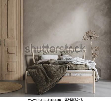 Bed with linen bedding, dry plant and wooden door in bedroom, room in natural tones, 3d render