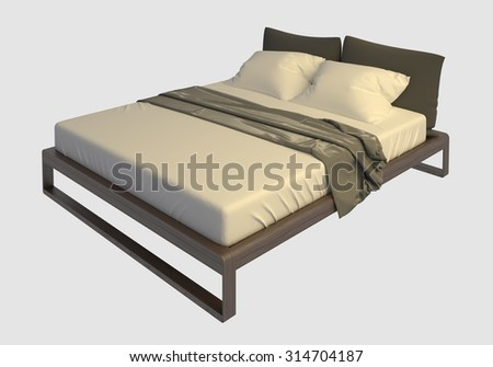 Bed with pillows and a blanket photorealistic render isolated on white #314704187