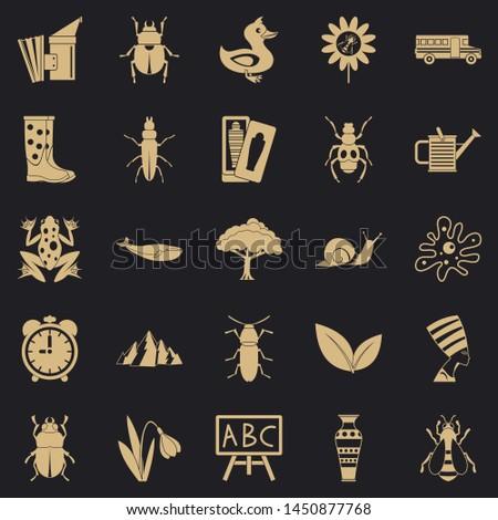 Bedbug icons set. Simple set of 25 bedbug icons for web for any design