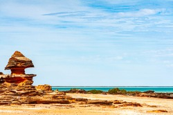 Bedded sedimentary rocks at seaside in Roebuck Bay, Broome, Western Australia
