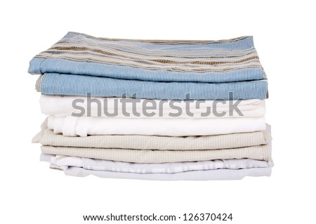 Bedding sheets folded and isolated on white