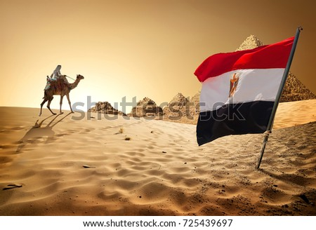 Bedouin on camel near pyramids in desert #725439697