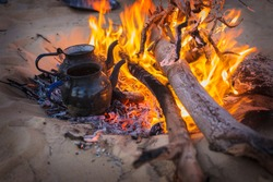 Bedouin tea on the fire in Sahara desert, Egypt