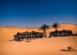 Bedouin tent camp in the United Arab Emirates. UAE desert camping.