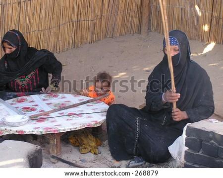 bedouins family in Sahara,Egypt,Africa