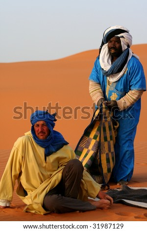 Bedouins in desert Sahara
