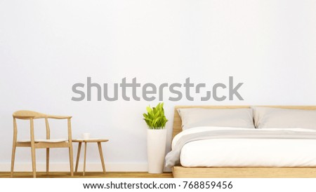 bedroom and relax area in apartment or hotel - Interior design for artwork room for rent or for sale - 3D Rendering