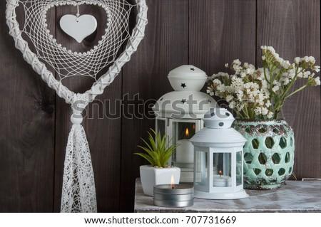 Bedroom decor on brown wooden textured background