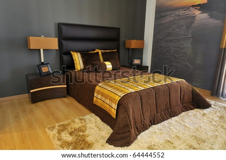 Bedroom decoration in a modern apartment
