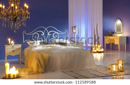 bedroom in candlelight
