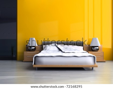 Bedroom in modern style 3d rendering - stock photo