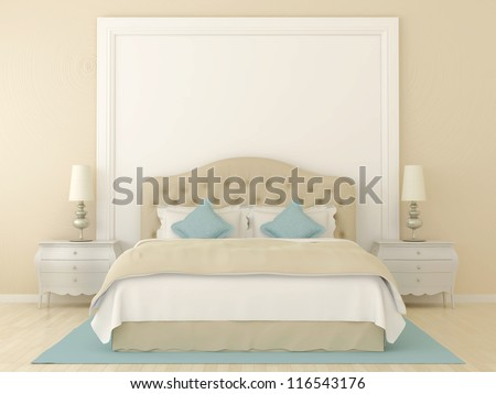 Bedroom in soft beige colors with blue decoration. Over the bed was a large frame with a white background where can be your tex. - stock photo