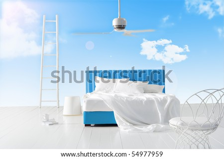bedroom in the sky - stock photo