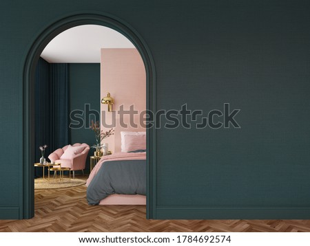 Bedroom interior.Art deco style.Green pink and gold color.Design with arch wall.3d rendering