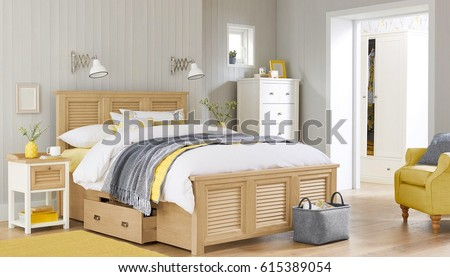 Bedroom interior. Comfortable bedroom with nice decoration. Modern bedroom in luxury apartment. #615389054