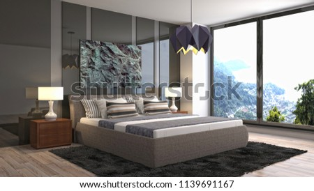 Bedroom interior. 3d illustration #1139691167