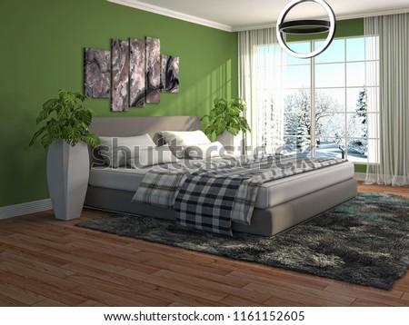 Bedroom interior. 3d illustration #1161152605