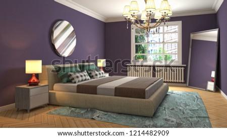 Bedroom interior. 3d illustration #1214482909