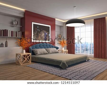 Bedroom interior. 3d illustration #1214511097