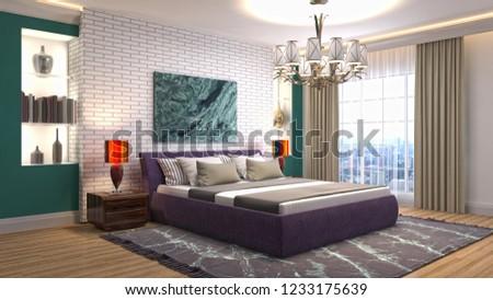 Bedroom interior. 3d illustration #1233175639