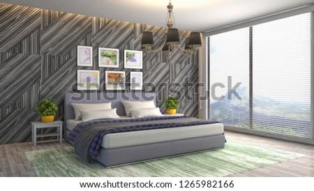 Bedroom interior. 3d illustration #1265982166