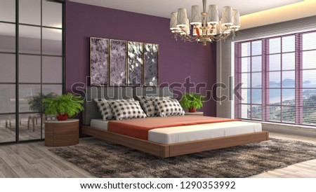 Bedroom interior. 3d illustration #1290353992
